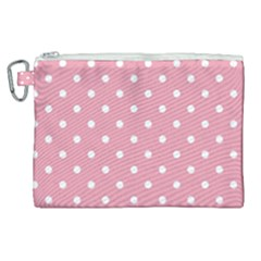Pink Polka Dot Background Canvas Cosmetic Bag (xl) by Modern2018