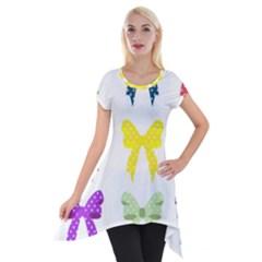Ribbons And Bows Polka Dots Short Sleeve Side Drop Tunic