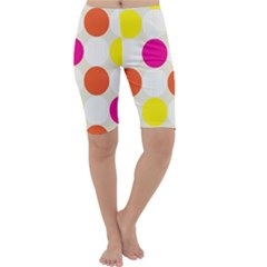 Polka Dots Background Colorful Cropped Leggings