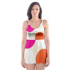 Polka Dots Background Colorful Skater Dress Swimsuit