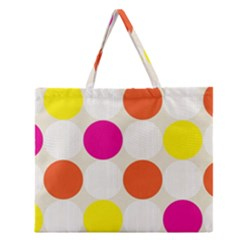 Polka Dots Background Colorful Zipper Large Tote Bag