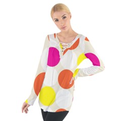 Polka Dots Background Colorful Tie Up Tee