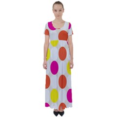Polka Dots Background Colorful High Waist Short Sleeve Maxi Dress