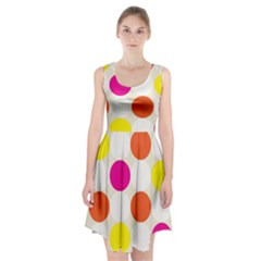 Polka Dots Background Colorful Racerback Midi Dress