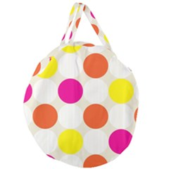 Polka Dots Background Colorful Giant Round Zipper Tote
