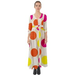 Polka Dots Background Colorful Button Up Boho Maxi Dress