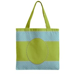 Lace Polka Dots Border Zipper Grocery Tote Bag by Modern2018
