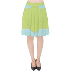 Lace Polka Dots Border Velvet High Waist Skirt