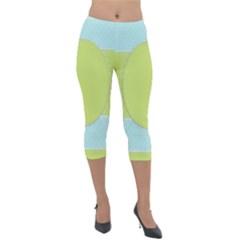Lace Polka Dots Border Lightweight Velour Capri Leggings