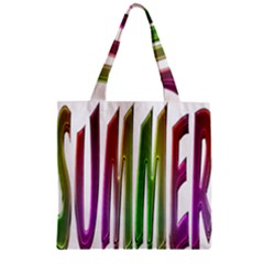 Summer Colorful Rainbow Typography Zipper Grocery Tote Bag