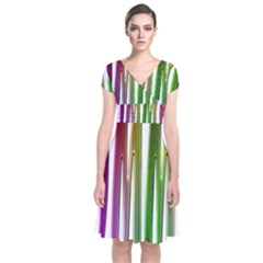 Summer Colorful Rainbow Typography Short Sleeve Front Wrap Dress
