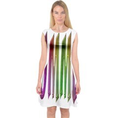 Summer Colorful Rainbow Typography Capsleeve Midi Dress