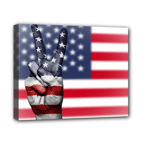 United State Flags With Peace Sign Canvas 10  X 8  by goodart