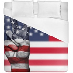 United State Flags With Peace Sign Duvet Cover (king Size)