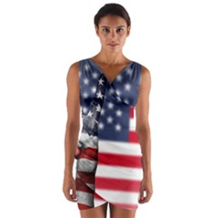 United State Flags With Peace Sign Wrap Front Bodycon Dress