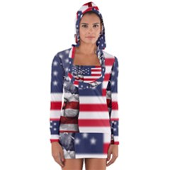 United State Flags With Peace Sign Long Sleeve Hooded T Shirt