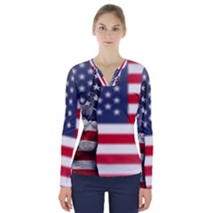 United State Flags With Peace Sign V Neck Long Sleeve Top