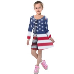 United State Flags With Peace Sign Kids  Long Sleeve Velvet Dress