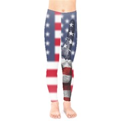 United State Flags With Peace Sign Kids  Legging
