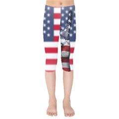 United State Flags With Peace Sign Kids  Capri Leggings