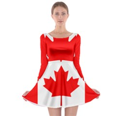 Flag Of Canada Long Sleeve Skater Dress