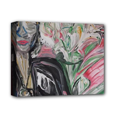Lady With Lillies Deluxe Canvas 14  X 11  by bestdesignintheworld