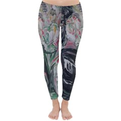 Lady With Lillies Classic Winter Leggings by bestdesignintheworld