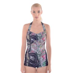 Lady With Lillies Boyleg Halter Swimsuit