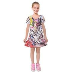 Every Girl Has A Dream Kids  Short Sleeve Velvet Dress