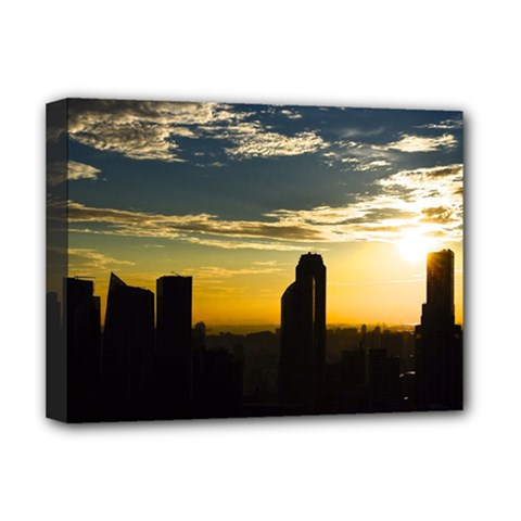 Skyline Sunset Buildings Cityscape Deluxe Canvas 16  X 12