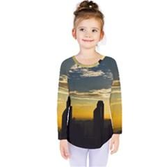 Skyline Sunset Buildings Cityscape Kids  Long Sleeve Tee
