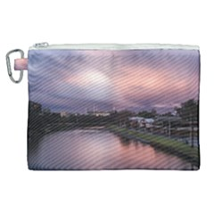 Sunset Melbourne Yarra River Canvas Cosmetic Bag (xl) by Simbadda