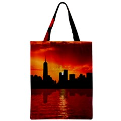Skyline New York City Sunset Dusk Zipper Classic Tote Bag