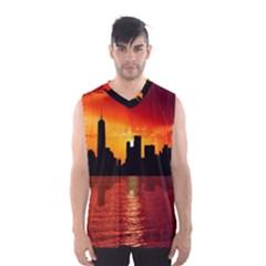 Skyline New York City Sunset Dusk Men s Basketball Tank Top
