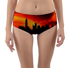Skyline New York City Sunset Dusk Reversible Mid Waist Bikini Bottoms