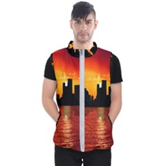 Skyline New York City Sunset Dusk Men s Puffer Vest