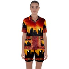 Skyline New York City Sunset Dusk Satin Short Sleeve Pyjamas Set