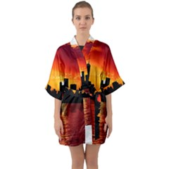 Skyline New York City Sunset Dusk Quarter Sleeve Kimono Robe