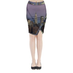 Skyline City Manhattan New York Midi Wrap Pencil Skirt