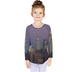 Skyline City Manhattan New York Kids  Long Sleeve Tee