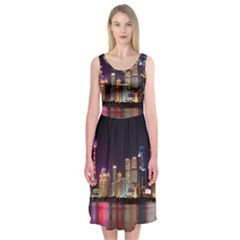 Building Skyline City Cityscape Midi Sleeveless Dress