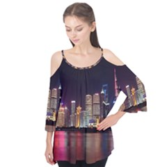 Building Skyline City Cityscape Flutter Tees