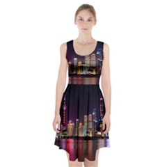 Building Skyline City Cityscape Racerback Midi Dress