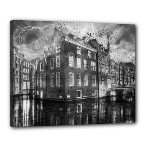 Reflection Canal Water Street Canvas 20  X 16