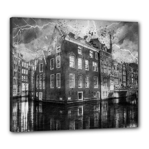 Reflection Canal Water Street Canvas 24  X 20