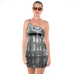 Reflection Canal Water Street One Soulder Bodycon Dress
