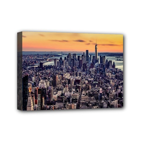 New York Skyline Architecture Nyc Mini Canvas 7  X 5