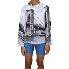 City Skyline Skyline City Cityscape Kids  Long Sleeve Swimwear by Simbadda