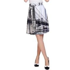 City Skyline Skyline City Cityscape A Line Skirt