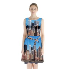 Skyscraper Architecture City Sleeveless Waist Tie Chiffon Dress